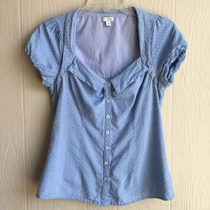 Anthropologie Odille Blue Swiss Dot Button Down